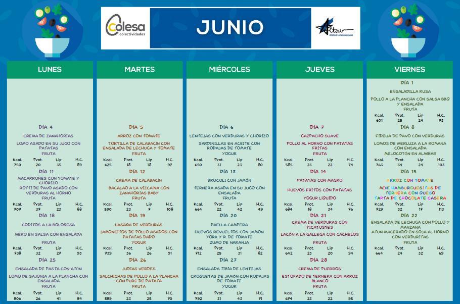 Menú comedor JUNIO | Colegio Altair